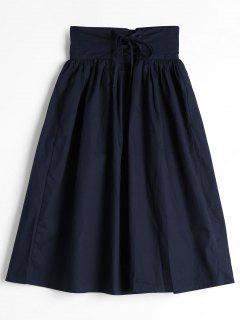 Lace Up High Waist A Line Skirt - Purplish Blue L