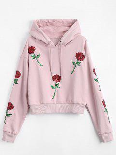 Sequins Floral Patched Drawstring Hoodie - Pink L