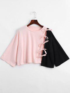 Contrast Self Tie Asymmetric Hem Tee - Black And Pink M