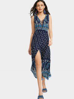 Lace Up Paisley Front Slit Maxi Dress - Purplish Blue L