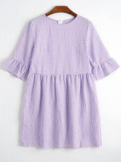 Round Collar Striped Dress - Purple M