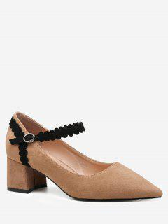 Ankle Wrap Block Heel Pumps - Light Brown 38