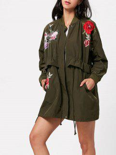 Zip Up Embroidery Coat With Pockets - Army Green L