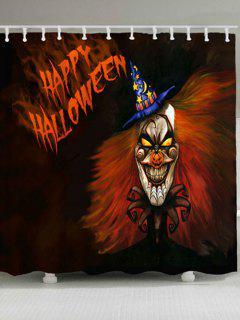 Waterproof Happy Halloween Ghost Bath Curtain - Darksalmon W71 Inch * L71 Inch