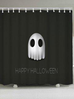 Waterproof Happy Halloween Ghost Shower Curtain - Black W71 Inch * L71 Inch