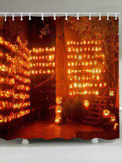 Halloween Pumpkin Lamp Waterproof Shower Curtain - Orange W71 Inch * L71 Inch