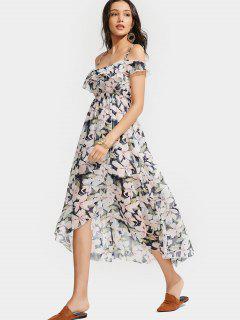 Ruffle Floral Cold Shoulder Dress - Floral S