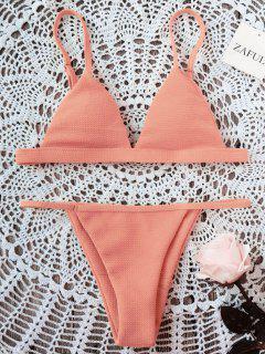 Spaghetti Strap High Cut Bikini Set - Orangepink M