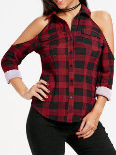 Flap Pockets Plaid Cold Shoulder Shirt - Red Xl