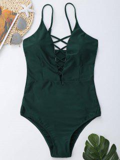 Criss Cross One Piece Swimsuit - Deep Green M