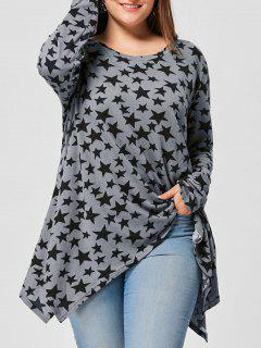 Plus Size Allover Star Long Sleeve T-shirt - Gray 5xl