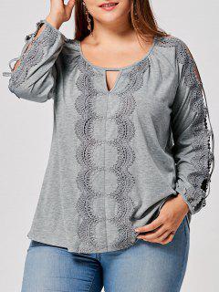 Plus Size Lace Panel Cut Out Keyhole T-shirt - Gray Xl