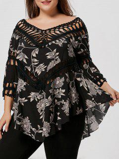 Print Crochet Panel Plus Size Asymmetric Top - Black