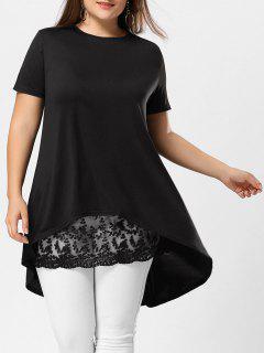 Plus Size Lace Extender Sheer Mini Skirt - Black 2xl