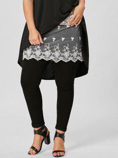 Plus Size Mesh Floral Lace Extender Mini Skirt - White 4xl