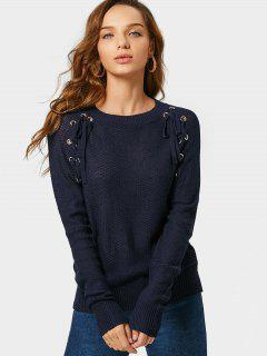 Loose Lace Up Sheer Sweater - Purplish Blue L