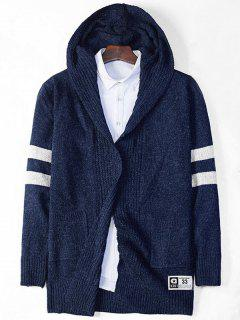 Stripe Cross Pattern Open Front Hooded Cardigan - Deep Blue L