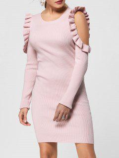 Pullover Kleid Mit Rüschen Trimmung Und Kalter Schulter  - Pink S