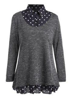 Plus Size Polka Dot Overlay Knit Top - Gray 5xl
