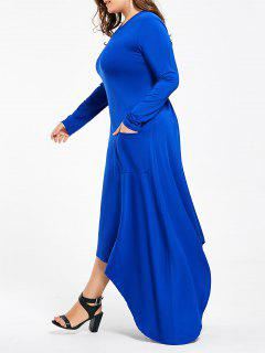 Plus Size Maxi Long Sleeve Asymmetric Dress With Pockets - Blue 3xl
