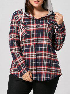 Plus Size Drawstring Neck Plaid Shirt Hoodie - Red 5xl