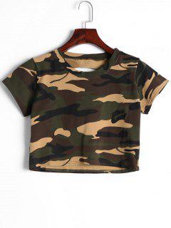 Corte La Camiseta Del Cultivo Del Camuflaje - Camuflaje M