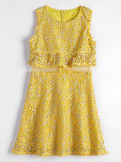 Mesh Panel Tiered Flare Lace Dress - Yellow M