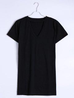 Keyhole Neck Shift Mini Dress - Black S