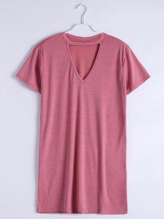 Mini Robe Droite Encolure Fendue - Rose Rosé Xl