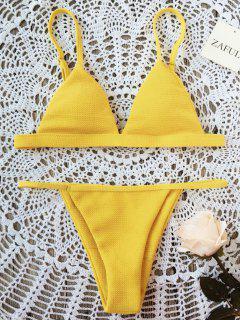 Spaghetti Strap High Cut Bikini Set - Yellow L
