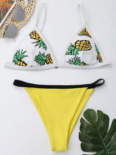 Ananas-Druck Cami Unverschämter Bikini-Satz - M