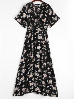 Plunging Neck High Slit Floral Belted Dress - Floral S