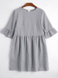 Round Collar Striped Dress - Black Xl