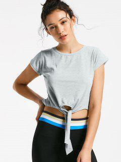 Front Knot Crop Top - Gray M