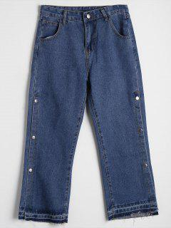 Side Buttoned High Waisted Wide Leg Jeans - Denim Blue M