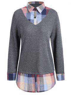Plus Size Checked Insert Sweater - Light Gray 3xl
