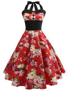 Vestido De Encaje Floral De Los Años 50 Del Halter De La Vendimia - Rojo M