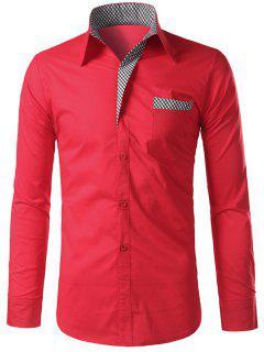 Plaid-trim Langarm-Shirt - Rot L