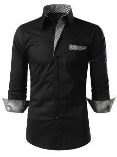 Plaid-trim Long Sleeve Shirt - Black M