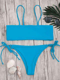 Bandeau Bikini Top And Tieside String Bottoms - Blue S
