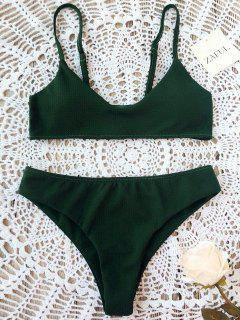 High Cut Bralette Bikini Set - Blackish Green L
