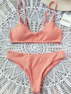 Hohe Schlitz Bralette Bikini Set - Orange Pink  M