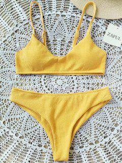 High Cut Bralette Bikini Set - Yellow L