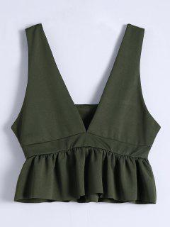 Plunging Neck Ruffle Hem Tank Top - Army Green M