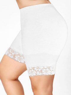 Plus Size Lace Insert Short Leggings - White Xl