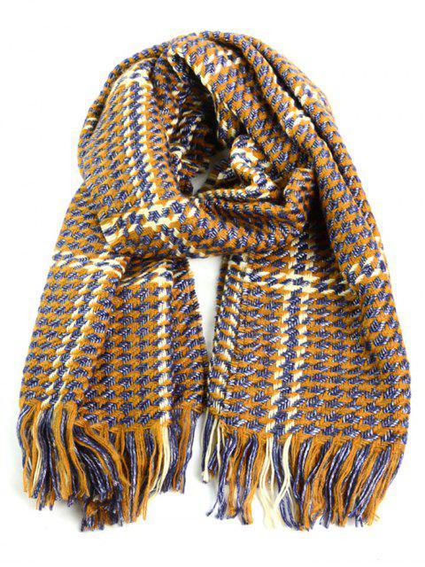 Warm Schal mit kleinem Karomuster und Quaste Design - Gelb  Mobile