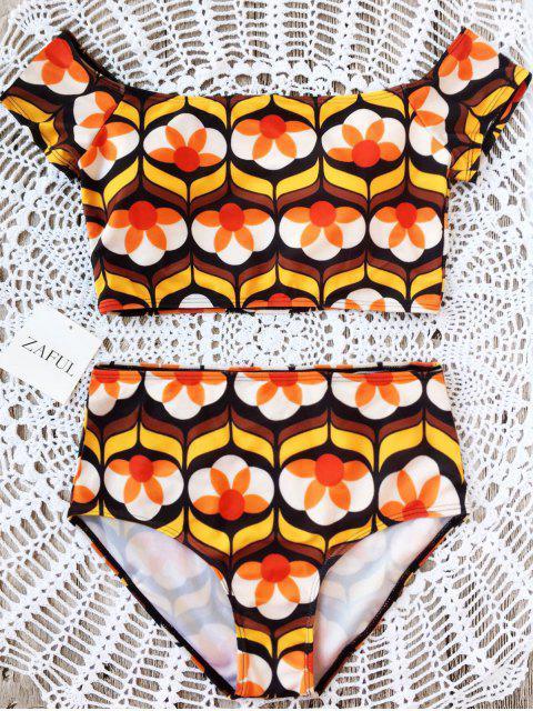 shops Printed Off Shoulder Bikini Set - FLORAL L Mobile