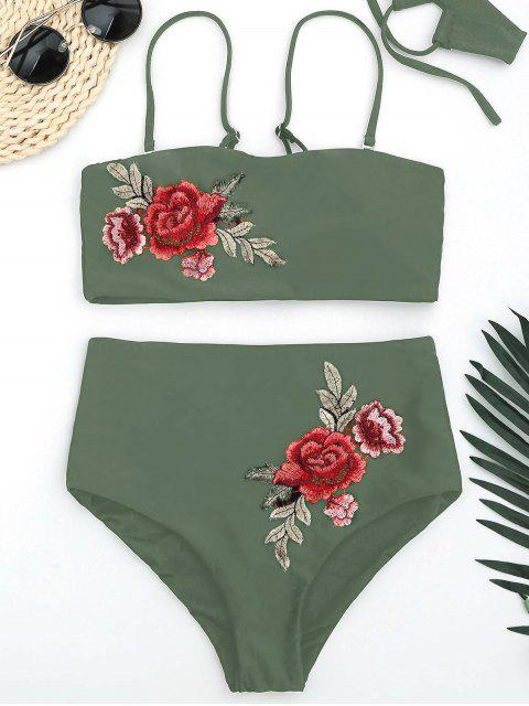 women's Bandeau Floral Applique High Waisted Bikini - ARMY GREEN L Mobile