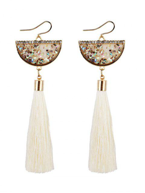 womens Tassel Pendant Half Round Fish Hook Earrings - WHITE  Mobile