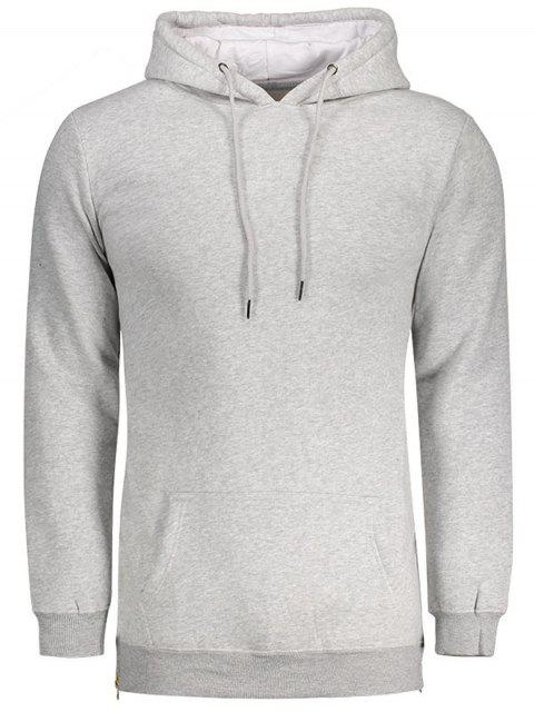 affordable Sides Zipper Hoodie - LIGHT GRAY 2XL Mobile